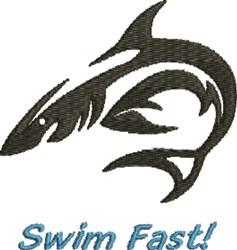 Swim Fast Tiger Shark embroidery design