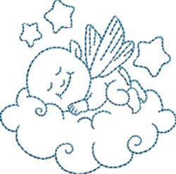 Sleepy Time Angel Baby embroidery design