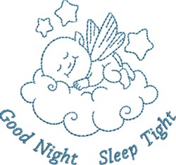Good Night Angel Baby embroidery design