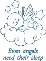 Even Angels Need Sleep embroidery design