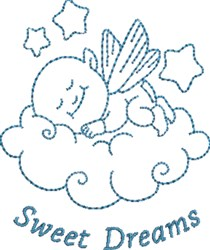 Sweet Dreams Angel Baby embroidery design