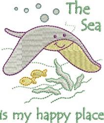 Happy Sea Stingray embroidery design