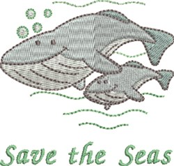 Save The Seas Whales embroidery design