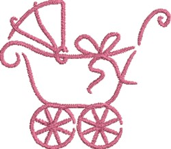 Girl Baby Carriage  embroidery design