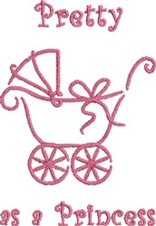 Girl Baby Carriage Princess embroidery design