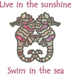 Seahorse Swim embroidery design