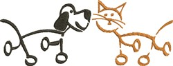 Stick Dog & Cat embroidery design