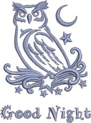 Good Night Owl embroidery design