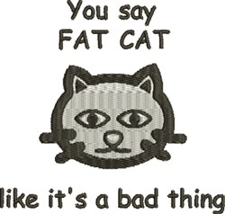 Fat Cat embroidery design