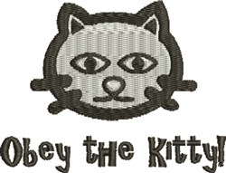Obey The Kitty embroidery design