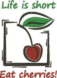 Eat Cherries embroidery design
