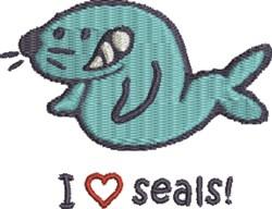 I Love Seals embroidery design