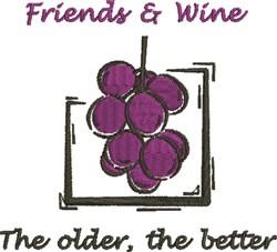 Friends & Wine embroidery design