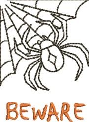 Spider Beware embroidery design