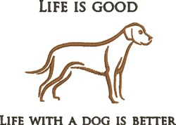 Life With Dog embroidery design