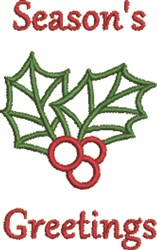 Seasons Greetings Holly embroidery design
