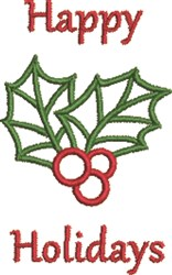 Happy Holidays Holly embroidery design