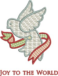 Holiday Dove Ribbon embroidery design