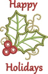 Holiday Holly embroidery design