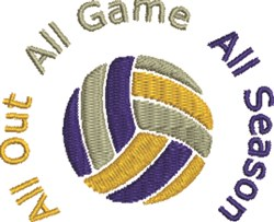 Volleyball All Out embroidery design