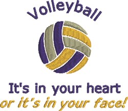 Volleyball In Heart embroidery design