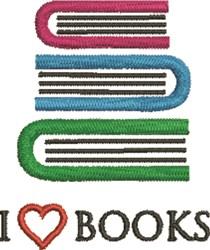 I Love Books embroidery design