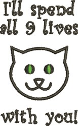 All 9 Lives embroidery design