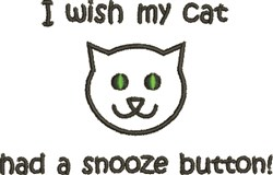Cat Snooze Button embroidery design
