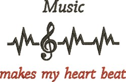 Music Heart Beat embroidery design