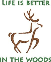 Deer Outline In The Woods embroidery design
