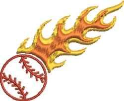 Flaming Baseball embroidery design
