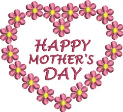 Mother's Day Heart embroidery design