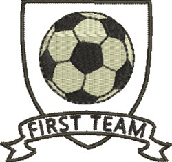 Soccer Crest First Team embroidery design