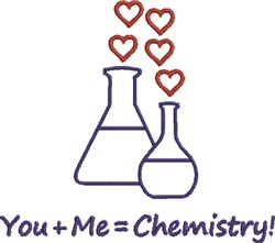 You + Me = Chemistry embroidery design