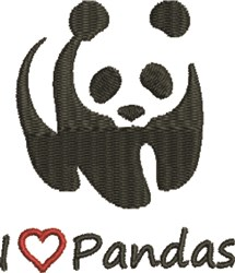 Love Pandas embroidery design