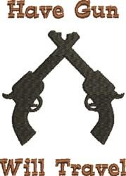 Crossed Pistols Silhouette embroidery design