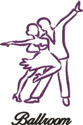Ballroom Dancers Outline embroidery design