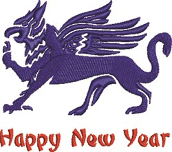 Happy New Year Griffin embroidery design