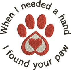 I Found Your Paw embroidery design