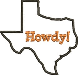 Howdy Texas Outline embroidery design