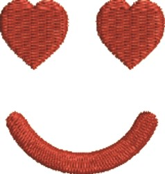 Smiley Hearts Face embroidery design