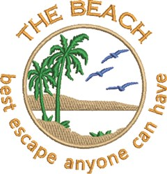 Escape To The Beach embroidery design