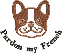 Pardon My French embroidery design
