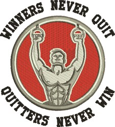 Winners Never Quit embroidery design