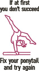 Gymnastics & Ponytails embroidery design