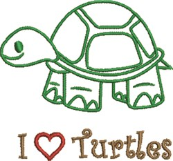 I Love Turtles embroidery design