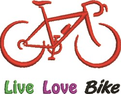 Live Love Bike embroidery design