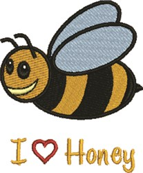 I Love Honey embroidery design