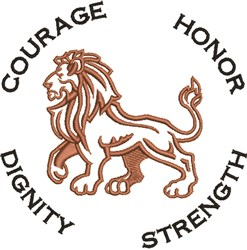 Courage Lion embroidery design