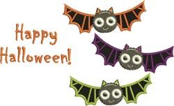 Happy Halloween Bats embroidery design